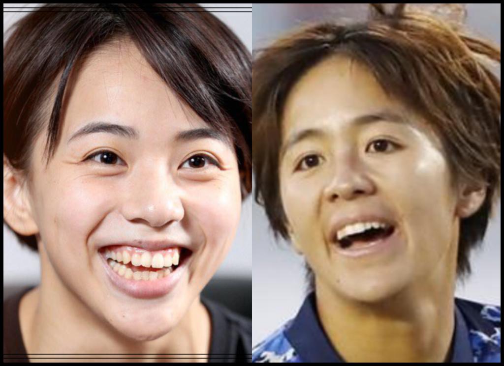 村上茉愛選手と岩渕真奈さんの画像