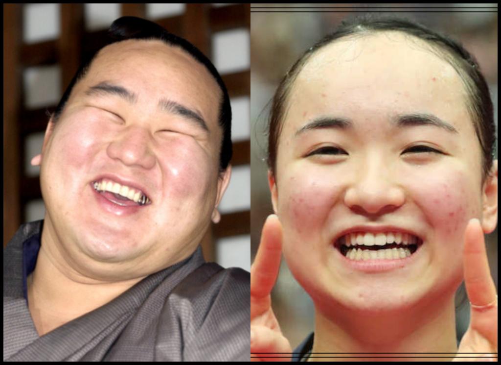 伊藤美誠選手と朝青龍さんの画像