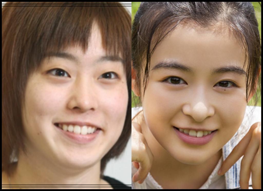 石川佳純選手と森七菜さんの画像