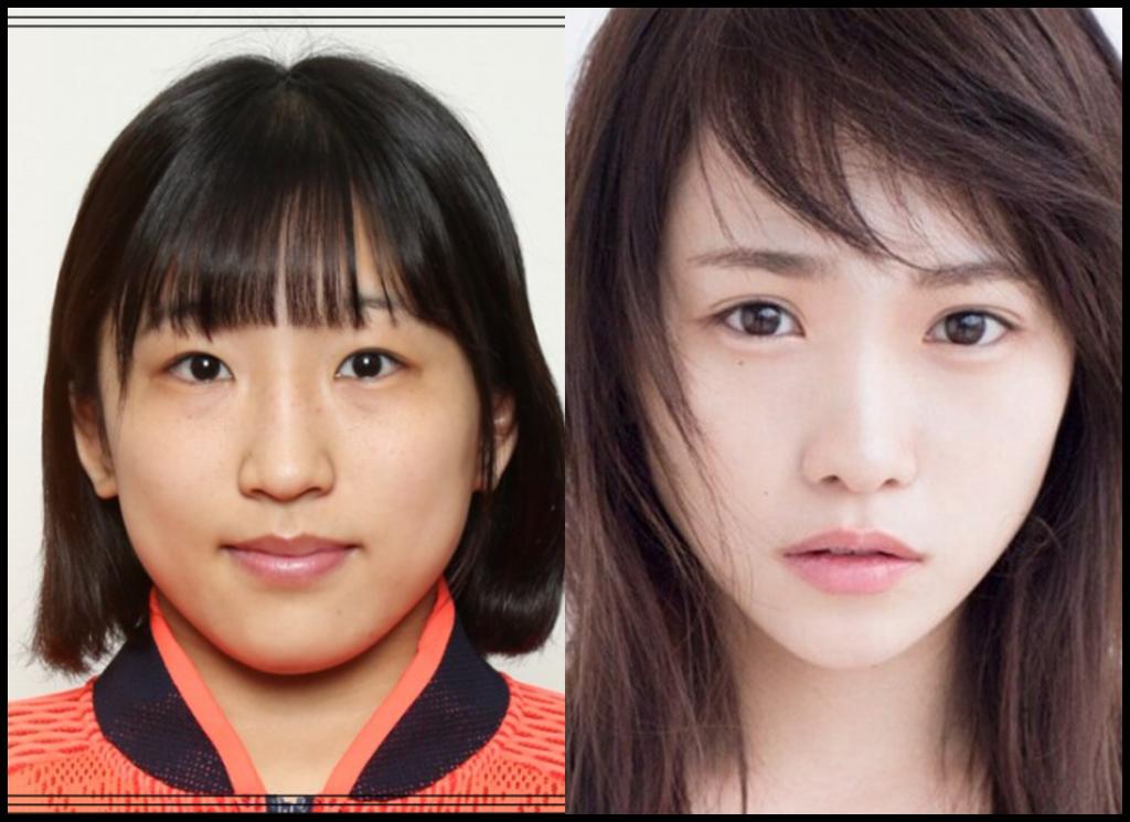 須崎優衣選手と川栄李奈さんの画像